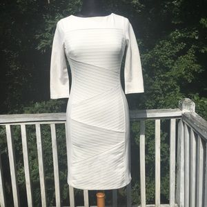 White Instantly Slimming Work/Office Dress